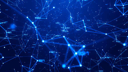 Business digital data network connecting with number and line abstract background blue theme. 스톡 콘텐츠