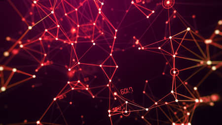 Network connection digital technology background with dots, lines and number, red theme. 스톡 콘텐츠