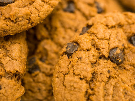 Close up of chocolate chip cookies background.