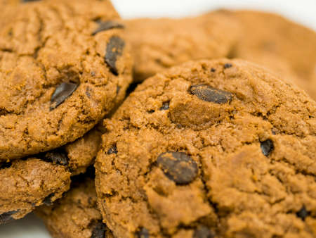 Pile of delicious chocolate chip cookies.