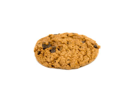 Chocolate chip cookie isolated on white background.