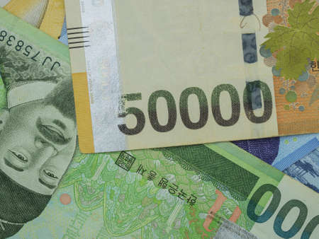 South Korean won banknotes money.
