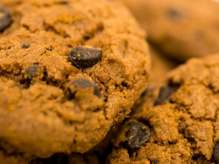 Fresh chocolate chip cookies, close up.