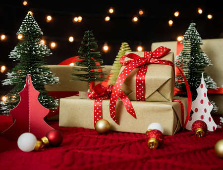 Christmas gift boxes with decorations.