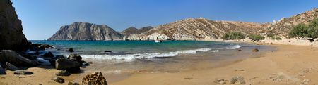 Patmos island, Psili Ammos beach panoramic view, Greece