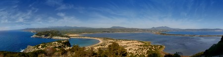 biotope: Panoramic view of Voidokilia beach, Gialova beach and lagoon and Pylos in Peloponnese, Greece Stock Photo