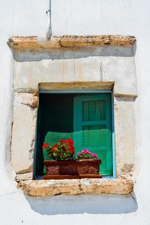cycladic: Fiori su finestra stile bianco delle Cicladi in isola Antiparos