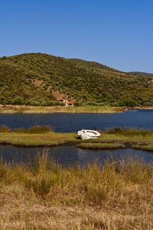 Fishing boat on dry land