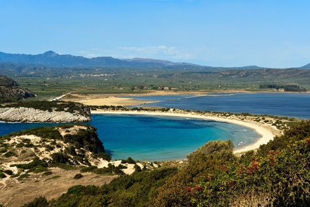 place of interest: Voidokilia beach, Peloponnese, Greece Stock Photo