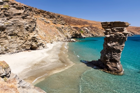 andros: Grias Pidima  old s woman jump  beach, Andros, Greece