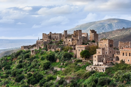 mani: Historic village Vathia, Mani, Peloponnese, Greece Stock Photo