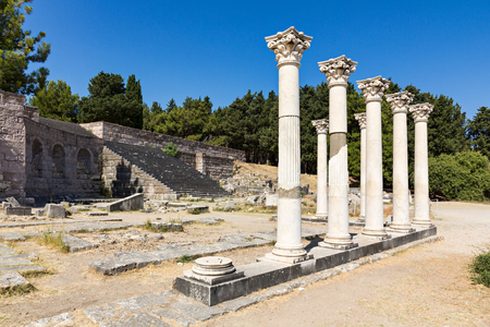 hippocrates: Ruins of Asklepieion, ancient greek hospital, on Kos island Stock Photo