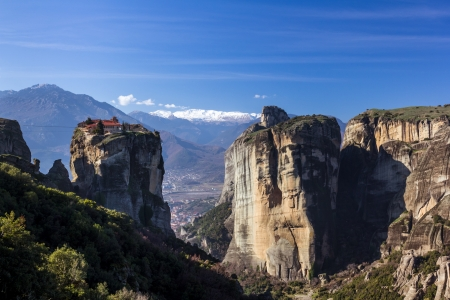 monasteries: Meteora mountains and monasteries, Greece Stock Photo