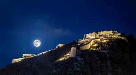 peloponnesus: Nafplion fortress, Palamidi, moonlight view