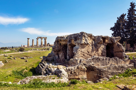 Ancient quarry beside Apollo temple ruins in Corinth, Greece photo