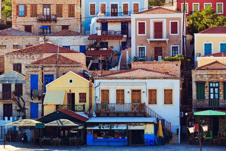 halki: Traditional Greek island houses in Chalki port