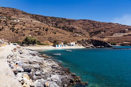 andros: Plaka beach in Andros island Stock Photo