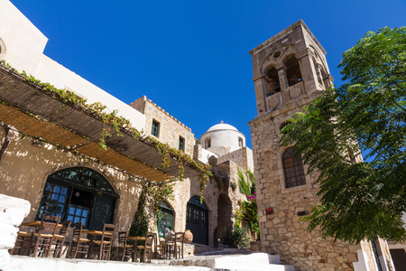 peloponnese: Central square of Monemvasia in Peloponnese, Greece Stock Photo