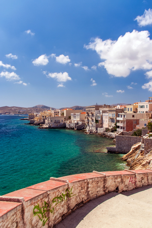 sea of houses: Traditional houses by the sea in Syros island Stock Photo