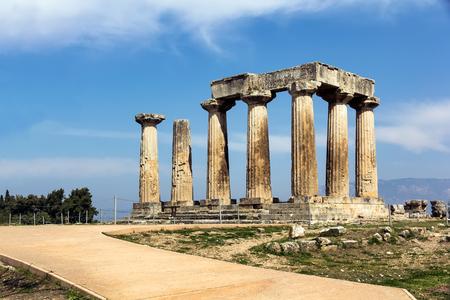 peloponnesus: Apollo temple ruins in Corinth, Greece Stock Photo