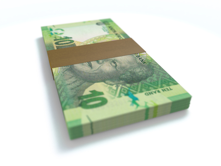 rand: A bundle of south african 10 rand notes in a bundle on white cash money Stock Photo
