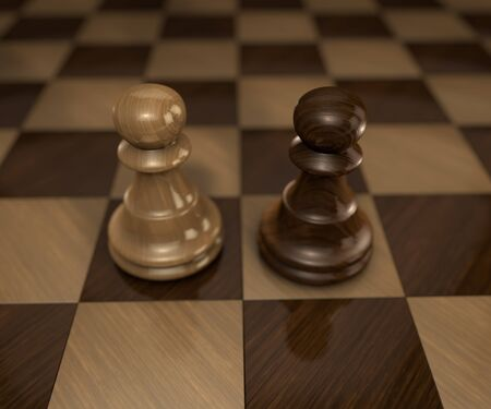 chess board: two standing pawn chess pieces on checkered chess board