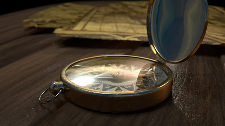 magnetic north: An old brass compass on a wooden floor in front of maps Stock Photo