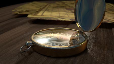 puntos cardinales: Un compás de latón en un piso de madera delante de mapas