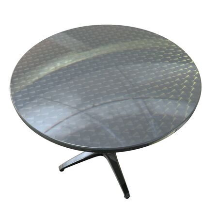 planar: the top of a round planar chrome table on white background