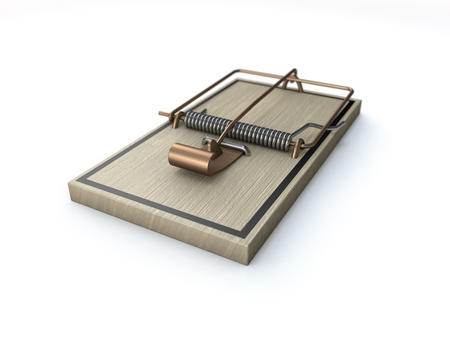 loaded: wooden and spring loaded mouse or rat trap on white Stock Photo