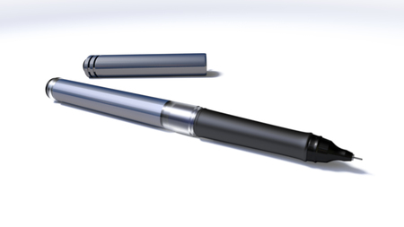 A close up of a modern veld tip pen with lid separate on a white surface and shadow