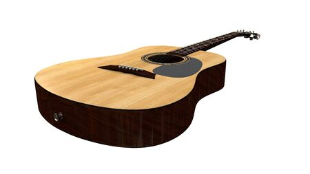sooth: a perspective view ofa woodent acoustic guitar on white background