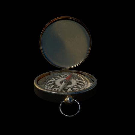 puntos cardinales: A cerca de una br�jula de lat�n de metal en negro
