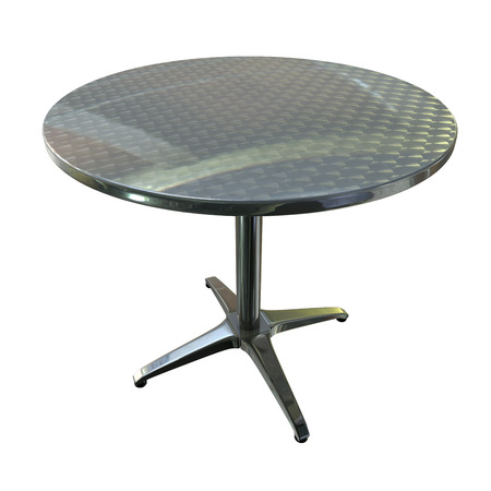 planar: a Shiny planar chrome round table with four legs on white background