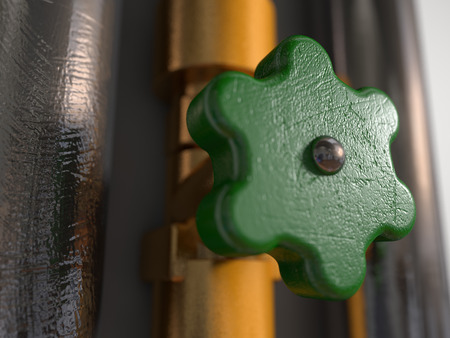 pipe fitting: Two shiny pipes next to a brass pipe fitting and a scratched tap Stock Photo