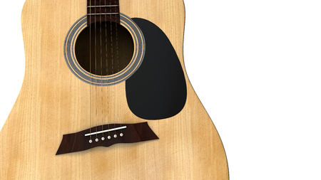 an extreme close up front view of an acoustic guitar