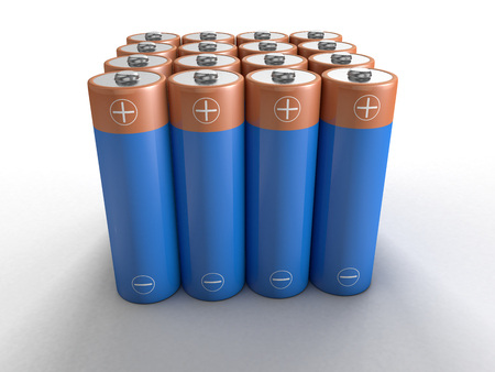 rows and columns of blue AA batteries on white