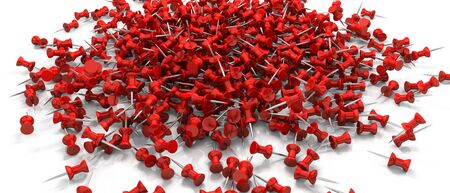 a bunch of red drawingpush pins scattered over a white surface