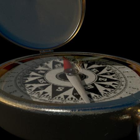 puntos cardinales: Una brújula de latón antiguo rasguñado extremadamente Closs sobre fondo oscuro