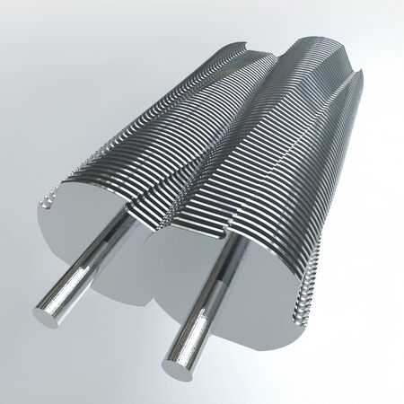 paper shredder: A close up of two cylindrical metal paper shredder blades