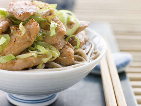 Bowl of Chicken and Leek Soba Noodles in Broth photo