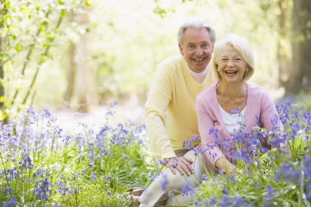 senior citizens: Senior couple in bluebell woods