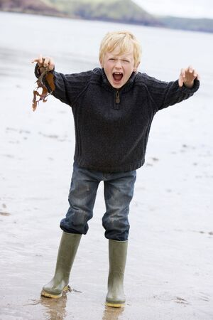 mischevious: Young boy holding seaweed at beach
