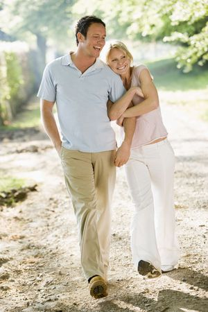 Couple on summer walk photo