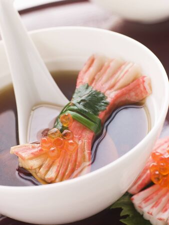 Clear Soup with Snow Crab Sticks Stock Photo - 3131371
