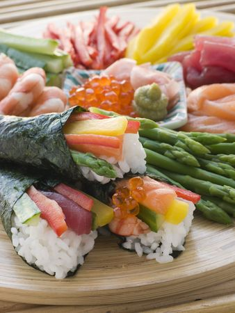 Seafood and Vegetable Hand Rolled Sushi Stock Photo - 3131622