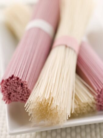 Clear and Pink Dried somen Noodles Stock Photo - 3131362