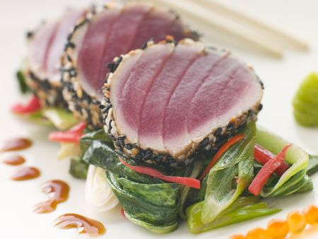 cutouts: Seared Yellow Fin Tuna with Sesame Seeds Sweet Fried pac Choi and Salmon Roe
