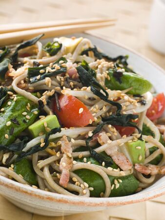 Green Tea and Soba Noodle Salad with Wakame Seaweed Stock Photo - 3131559