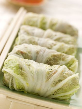 appetiser: Steamed Pork and Vegetable Cabbage Rolls With Sweet Chili Sauce